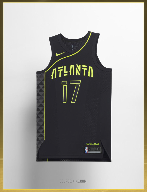 b51a9fb34 The curved and uneven lining along this Atlanta Hawks jersey pays tribute to  the team s iconic asymmetric jerseys from the  70s. According to Nike