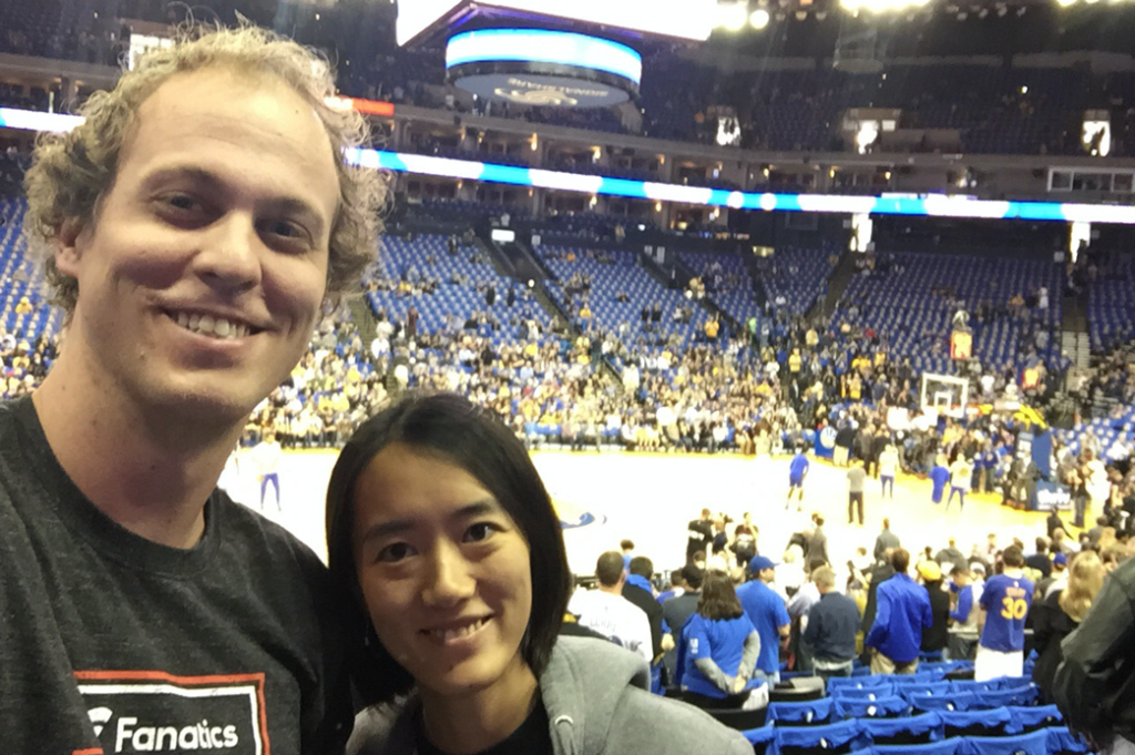 CK & FeiFei at the Golden State Warriors game for 73 wins