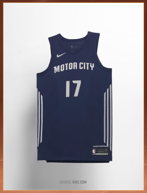 d7d05e3b7c3 Andre Drummond and the Detroit Pistons will be wearing automotive-inspired  jerseys with a navy and steel colorway. These jerseys call upon the city s  ...