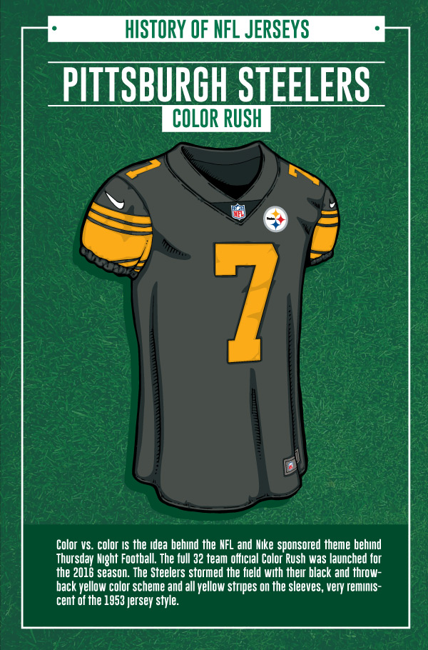 30b1a76c In 2015, the NFL rolled out a new Color Rush jersey campaign featuring  bright and vibrant spins on teams' current uniforms. The Steelers, however,  have too ...