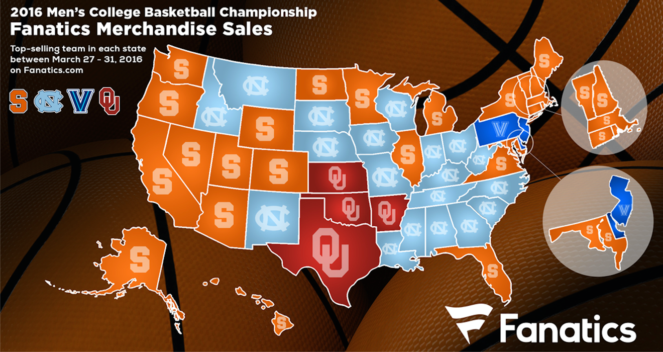 NCAA best selling Final Four team in each state