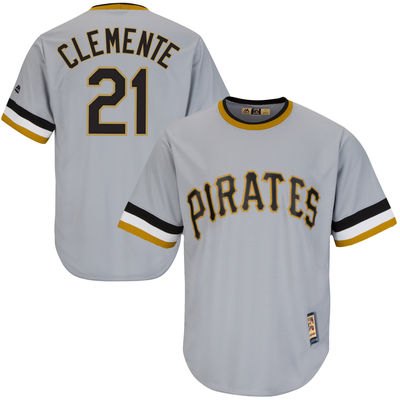 3a14c6f9b Roberto Clemente Pittsburgh Pirates Majestic Cool Base Cooperstown  Collection Player Jersey – Gray