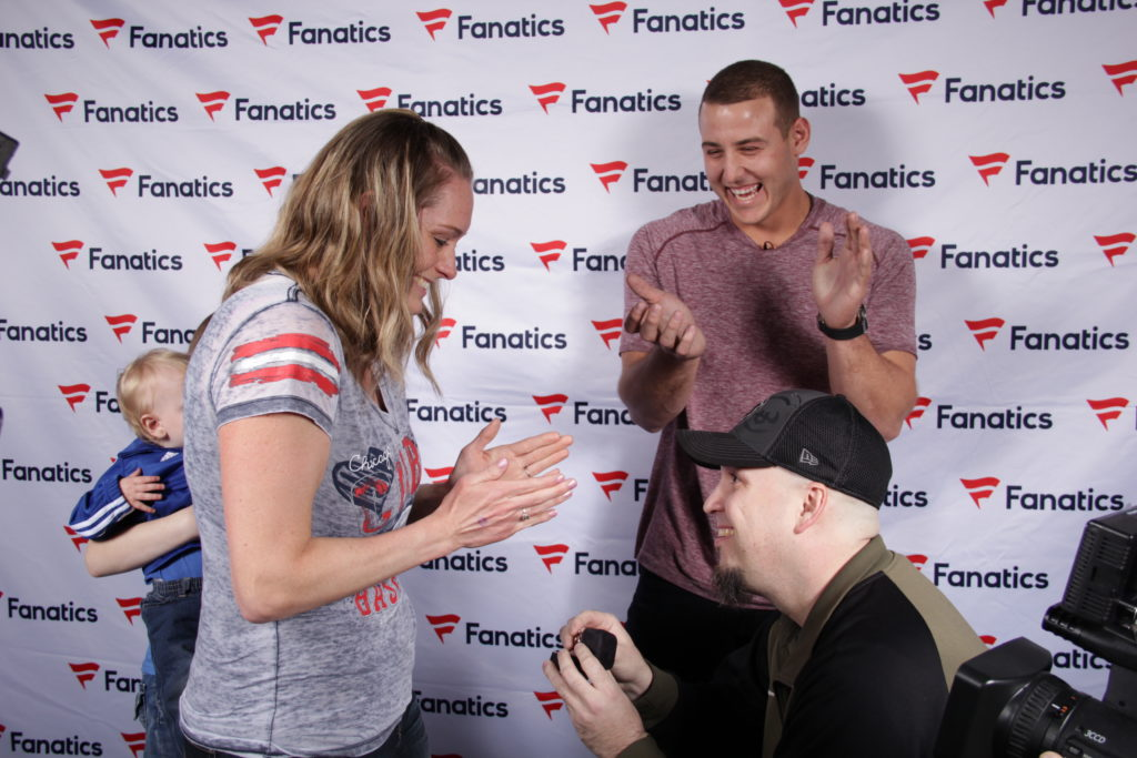 surprise marriage proposal with Anthony Rizzo at the Fanatics Authentic show in Chicago
